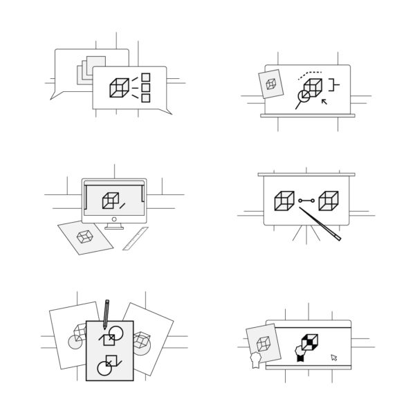 Icon Set displaying the Graphic Design Process